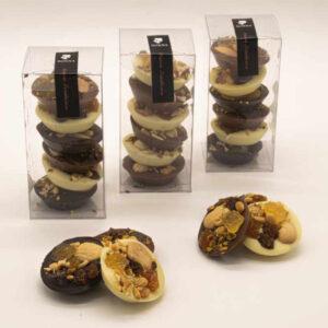 Cajita 6 musicos de chocolate fruta confitada y frutos secos