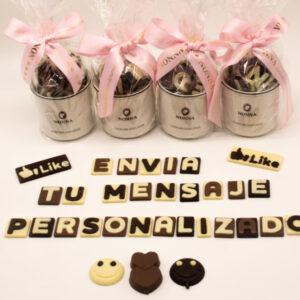Taza regalo mensaje letras chocolate
